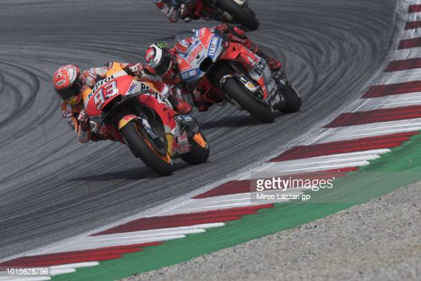 Marc Marquez of Spain and Repsol Honda Team leads the field during the MotoGP race during the MotoGp of Austria Race at Red Bull Ring on August 12...