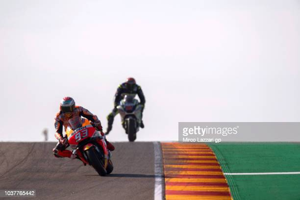 Marc Marquez of Spain and Repsol Honda Team leads the field during the qualifying practice during the MotoGP of Aragon Qualifying at Motorland Aragon...