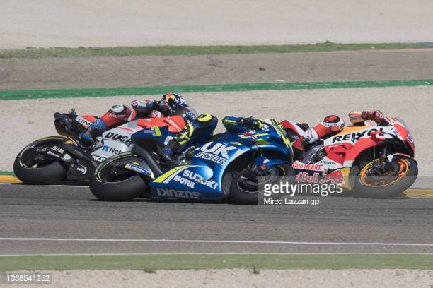Marc Marquez of Spain and Repsol Honda Team leads the field during the MotoGP race during the MotoGP of Aragon Race at Motorland Aragon Circuit on...