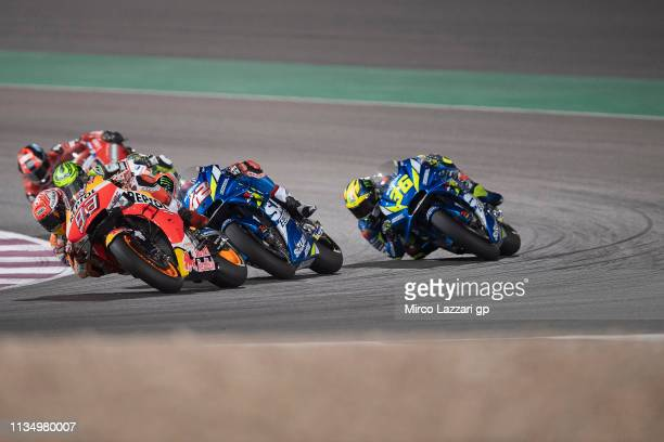 Marc Marquez of Spain and Repsol Honda Team leads the field during the MotoGP of Qatar Race at Losail Circuit on March 10 2019 in Doha Qatar