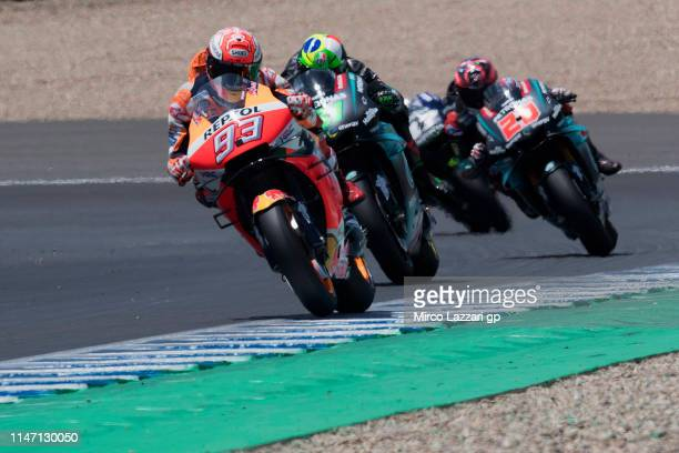 Marc Marquez of Spain and Repsol Honda Team leads the field during the MotoGP race during the MotoGp of Spain - Race at Circuito de Jerez on May 04,...