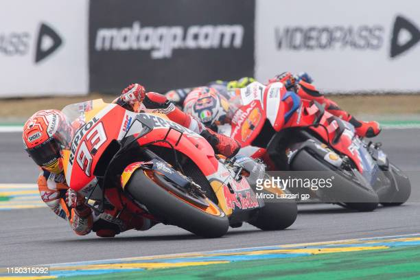 Marc Marquez of Spain and Repsol Honda Team leads the field during the MotoGP race during the MotoGp of France Race on May 19 2019 in Le Mans France