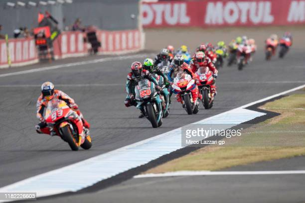 Marc Marquez of Spain and Repsol Honda Team leads the field during the MotoGP race during the MotoGP of Japan - Race at Twin Ring Motegi on October...