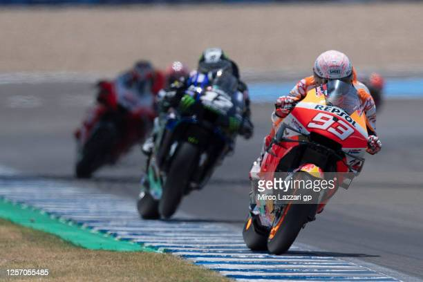 Marc Marquez of Spain and Repsol Honda Team leads the field during the MotoGP race during the MotoGP of Spain - Race at Circuito de Jerez on July 19,...