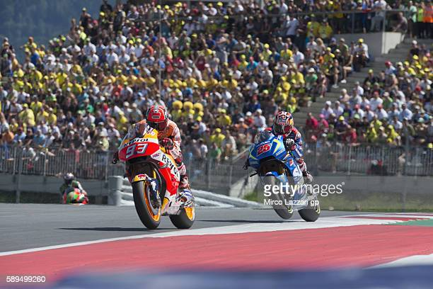 Marc Marquez of Spain and Repsol Honda Team leads the field during the MotoGP race during the MotoGp of Austria Race at Red Bull Ring on August 14...