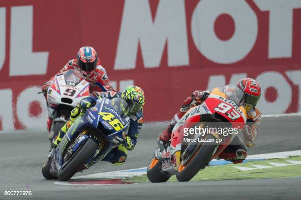 Marc Marquez of Spain and Repsol Honda Team leads the field during the MotoGP Race during the MotoGP Netherlands Race on June 25 2017 in Assen...