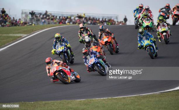 Marc Marquez of Spain and Repsol Honda Team leads the field during the MotoGP race during the 2017 MotoGP of Australia at Phillip Island Grand Prix...