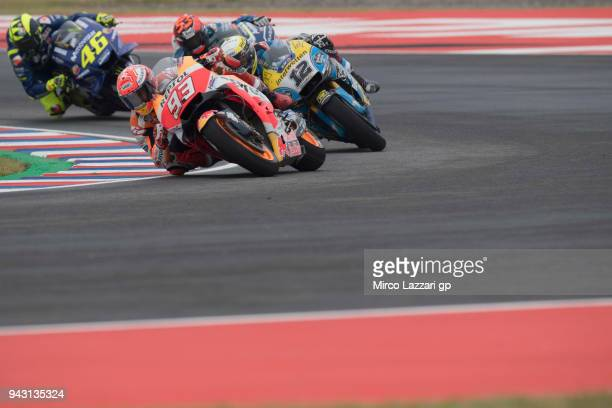 Marc Marquez of Spain and Repsol Honda Team leads the field during the qualifying practice during the MotoGp of Argentina Qualifying on April 7 2018...
