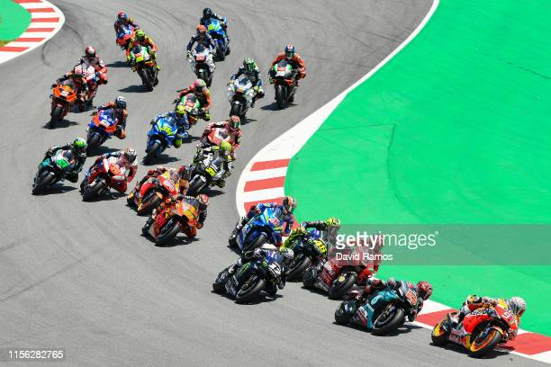 Marc Marquez of Spain and Repsol Honda Team leads the pack during the MotoGP race during the MotoGP Gran Premi Monster Energy de Catalunya at Circuit...