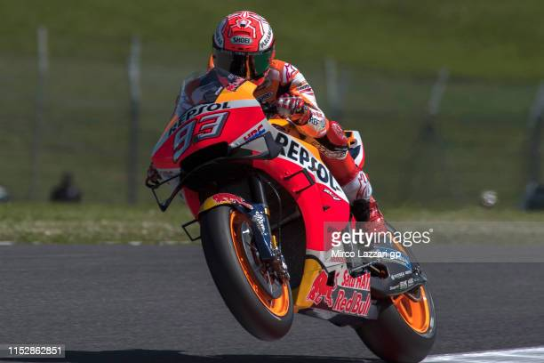 Marc Marquez of Spain and Repsol Honda Team lifts the front wheel during the MotoGp of Italy Free Practice at Mugello Circuit on May 31 2019 in...
