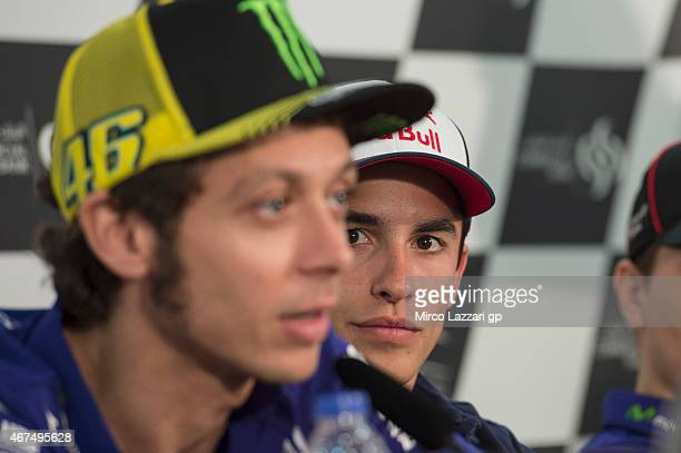 Marc Marquez of Spain and Repsol Honda Team looks on during the press conference preevent during the MotoGp of Qatar Press Conference at Losail...