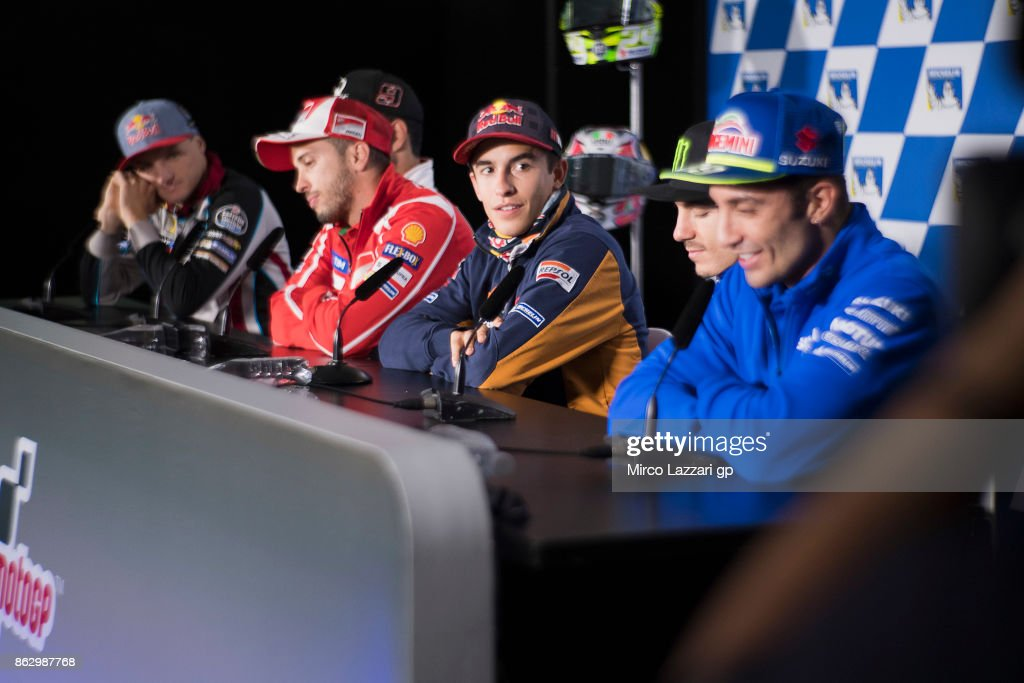 Marc Marquez of Spain and Repsol Honda Team looks on during the press conference during previews ahead of the 2017 MotoGP of Australia at Phillip Island Grand Prix Circuit on October 19, 2017 in Phillip Island, Australia.