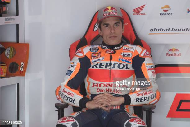 Marc Marquez of Spain and Repsol Honda Team looks on in box during the MotoGP Tests at Losail Circuit on February 24, 2020 in Doha, Qatar.