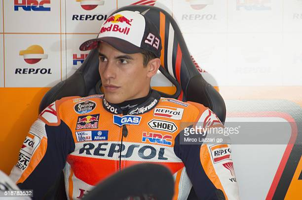 Marc Marquez of Spain and Repsol Honda Team looks on in box during the MotoGp of Argentina Qualifying at Termas De Rio Hondo Circuit on April 02 2016...