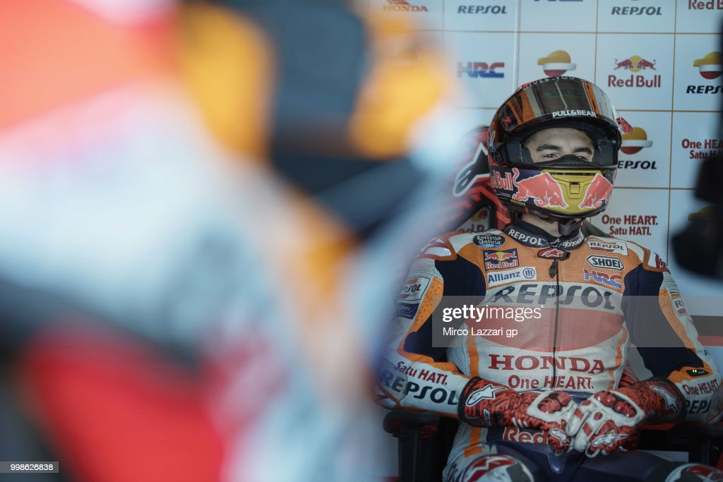 Marc Marquez of Spain and Repsol Honda Team looks on in box during the qualifying practice during the MotoGp of Germany - Qualifying at Sachsenring Circuit on July 14, 2018 in Hohenstein-Ernstthal, Germany.
