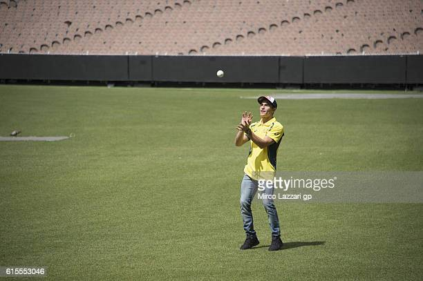Marc Marquez of Spain and Repsol Honda Team plays during the preevent in Melbourne Cricket Ground during the MotoGP of Australia PreEvent Activities...