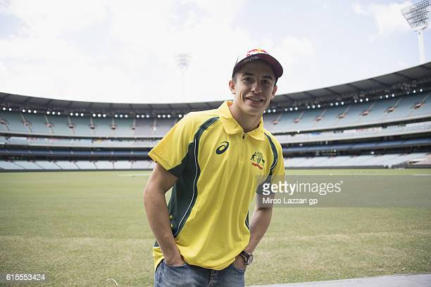 Marc Marquez of Spain and Repsol Honda Team poses for photographers during the preevent in Melbourne Cricket Ground during the MotoGP of Australia...