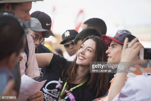Marc Marquez of Spain and Repsol Honda Team poses with fans in paddock during the MotoGp Red Bull US Grand Prix of The Americas Free Practice at...