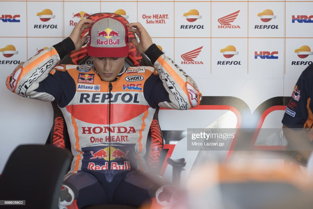 Marc Marquez of Spain and Repsol Honda Team prepares in box during the qualifying practice during the MotoGp of Germany - Qualifying at Sachsenring Circuit on July 14, 2018 in Hohenstein-Ernstthal, Germany.
