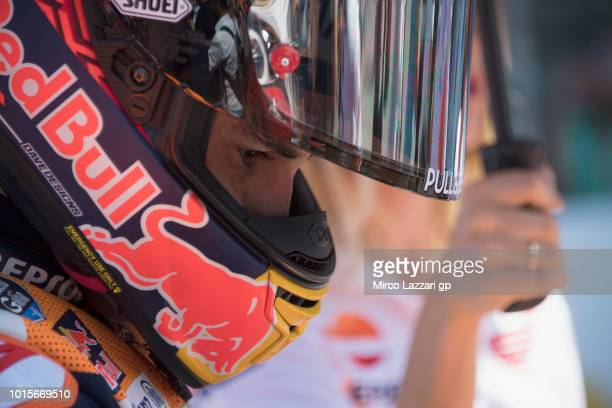 Marc Marquez of Spain and Repsol Honda Team prepares to start on the grid during the MotoGP race during the MotoGp of Austria Race at Red Bull Ring...