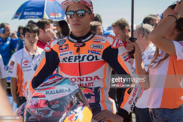 Marc Marquez of Spain and Repsol Honda Team prepares to start on the grid during the MotoGP race during the MotoGP of Aragon Race at Motorland Aragon...
