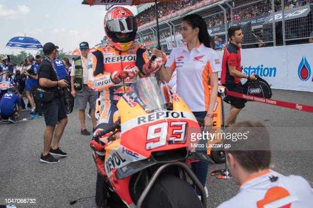 Marc Marquez of Spain and Repsol Honda Team prepares to start on the grid during the MotoGP race during the MotoGP Of Thailand Race on October 7 2018...