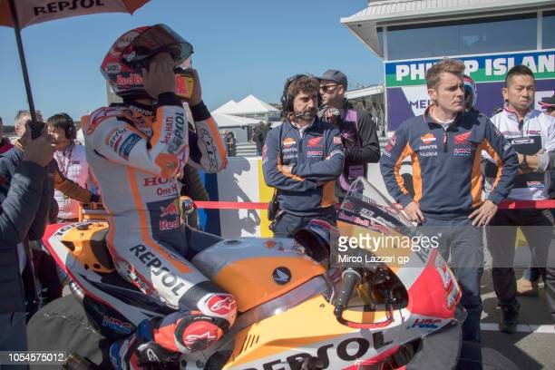Marc Marquez of Spain and Repsol Honda Team prepares to start on the grid during the MotoGP race during the MotoGP of Australia Race during the 2018...