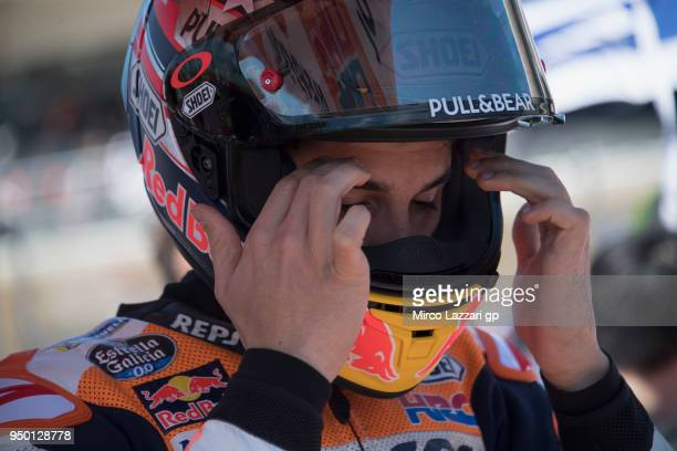 Marc Marquez of Spain and Repsol Honda Team prepares to start on the grid during the MotoGP race during the MotoGp Red Bull US Grand Prix of The...