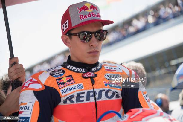 Marc Marquez of Spain and Repsol Honda Team prepares to start on the grid during the MotoGp race during the MotoGp of Spain Race at Circuito de Jerez...