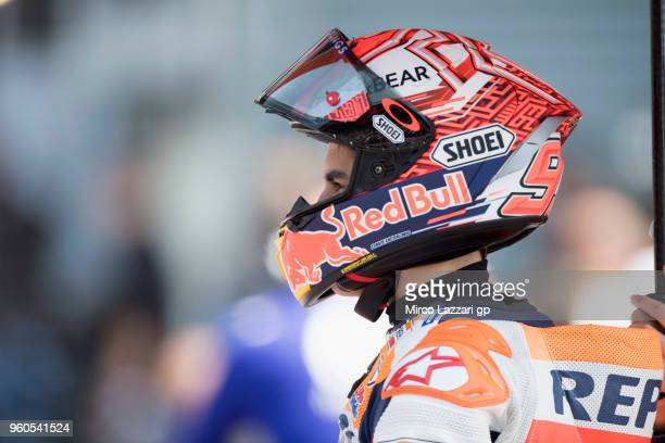 Marc Marquez of Spain and Repsol Honda Team prepares to start on the grid during the MotoGP race during the MotoGp of France Race on May 20 2018 in...