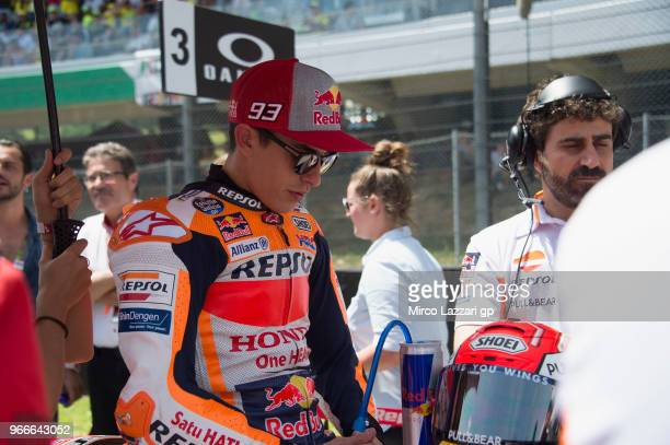 Marc Marquez of Spain and Repsol Honda Team prepares to start on the grid during the MotoGP race during the MotoGp of Italy Race at Mugello Circuit...