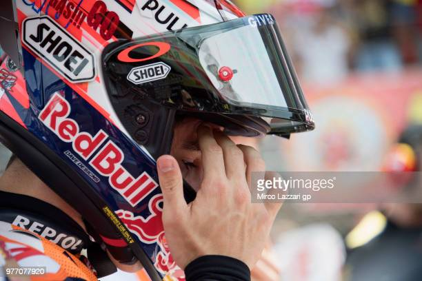 Marc Marquez of Spain and Repsol Honda Team prepares to start on the grid during the MotoGP race during the MotoGp of Catalunya Race at Circuit de...