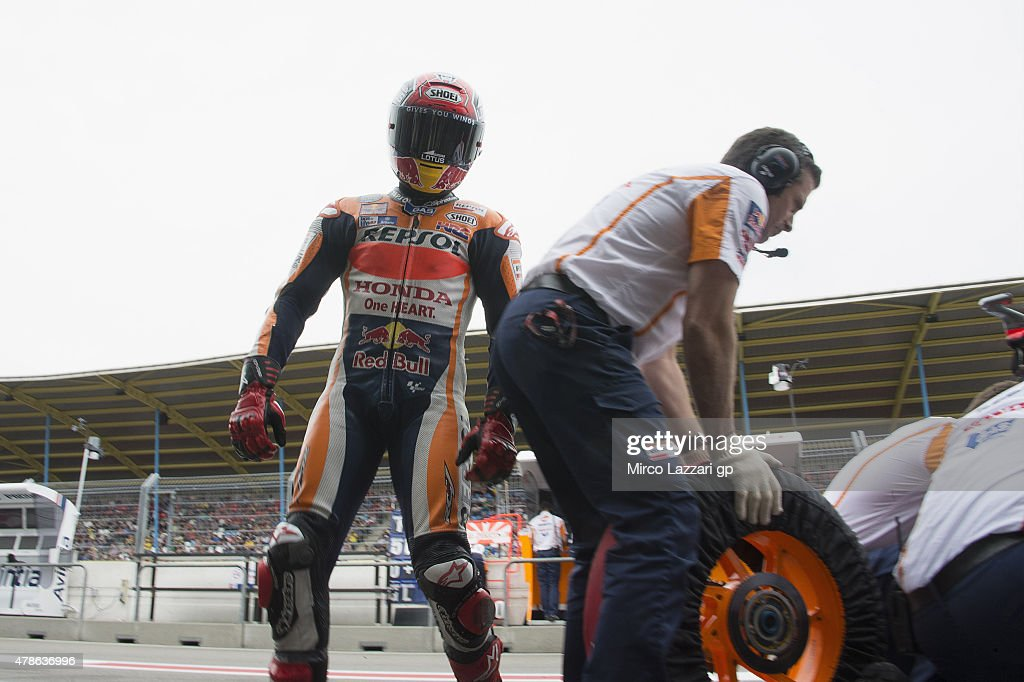 Marc Marquez of Spain and Repsol Honda Team returns in box during the qualifyng practice during the MotoGP Netherlands - Qualifying at TT Assen Circuit on June 26, 2015 in Assen, Netherlands.