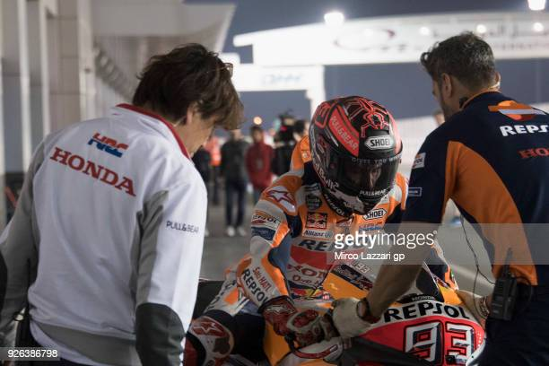 Marc Marquez of Spain and Repsol Honda Team returns in the pit during the Moto GP Testing Qatar at Losail Circuit on March 2 2018 in Doha Qatar