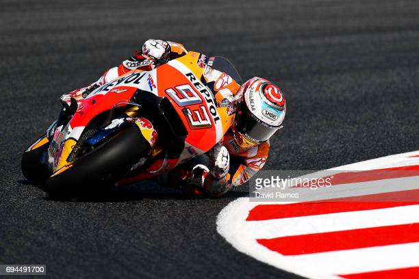 Marc Marquez of Spain and Repsol Honda Team rides during a free practice ahead of qualifying at Circuit de Catalunya on June 10 2017 in Montmelo Spain