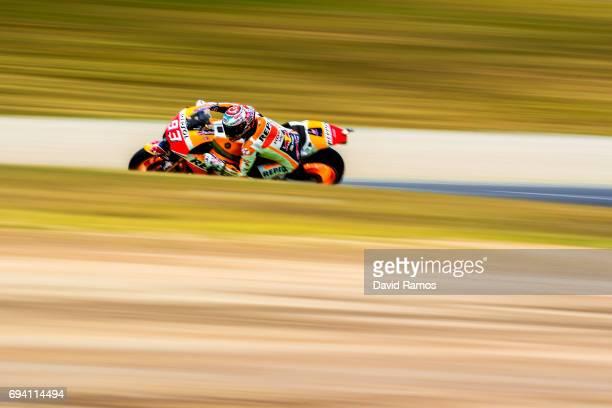 Marc Marquez of Spain and Repsol Honda Team rides during free practice for the MotoGP of Catalunya at Circuit de Catalunya on June 9, 2017 in...