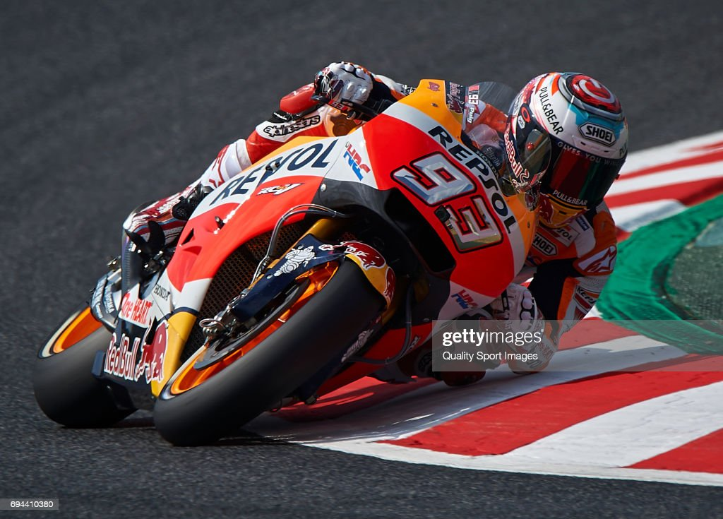 Marc Marquez of Spain and Repsol Honda Team rides during free practice for the MotoGP of Catalunya at Circuit de Catalunya on June 9, 2017 in Montmelo, Spain.