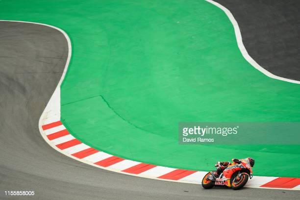 Marc Marquez of Spain and Repsol Honda Team rides during the first MotoGP free practice session ahead of MotoGP Gran Premi Monster Energy de...