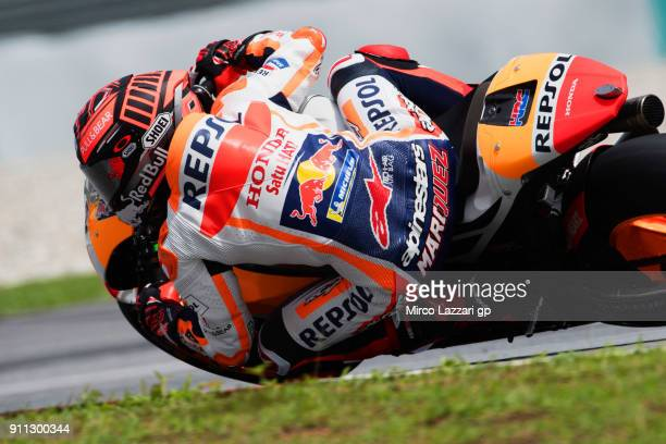 Marc Marquez of Spain and Repsol Honda Team rides during the MotoGP testing at Sepang Circuit on January 28 2018 in Kuala Lumpur Malaysia