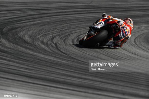 Marc Marquez of Spain and Repsol Honda Team rides during the third MotoGP free practice session ahead of MotoGP Gran Premi Monster Energy de...