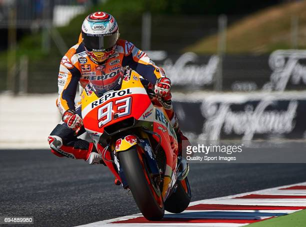 Marc Marquez of Spain and Repsol Honda Team rides during the warmup prior the Moto GP race at Circuit de Catalunya on June 11 2017 in Montmelo Spain