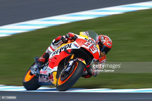 Marc Marquez of Spain and Repsol Honda Team rides during warm up prior to the 2016 MotoGP of Australia at Phillip Island Grand Prix Circuit on...