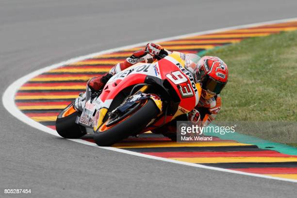 Marc Marquez of Spain and Repsol Honda Team rides in qualifying during the MotoGP of Germany at Sachsenring Circuit on July 1 2017 in...