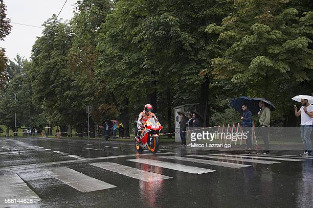 Marc Marquez of Spain and Repsol Honda Team rides the bike in city during the preevent in the city of Graz during the MotoGp of Austria Preview at...
