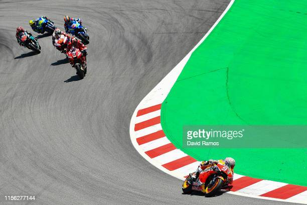Marc Marquez of Spain and Repsol Honda Team rides to win the MotoGP race during the MotoGP Gran Premi Monster Energy de Catalunya at Circuit de...