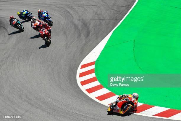 Marc Marquez of Spain and Repsol Honda Team rides to win the MotoGP race during the MotoGP Gran Premi Monster Energy de Catalunya at Circuit de...