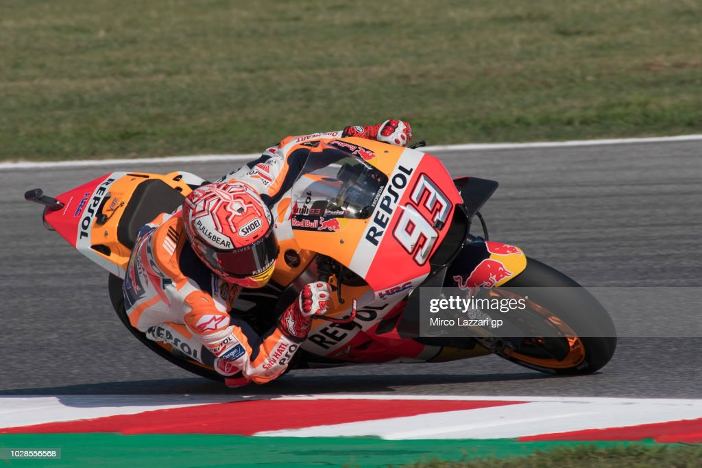 Marc Marquez of Spain and Repsol Honda Team rounds the bend during the MotoGP of San Marino - Free Practice at Misano World Circuit on September 7, 2018 in Misano Adriatico, Italy.