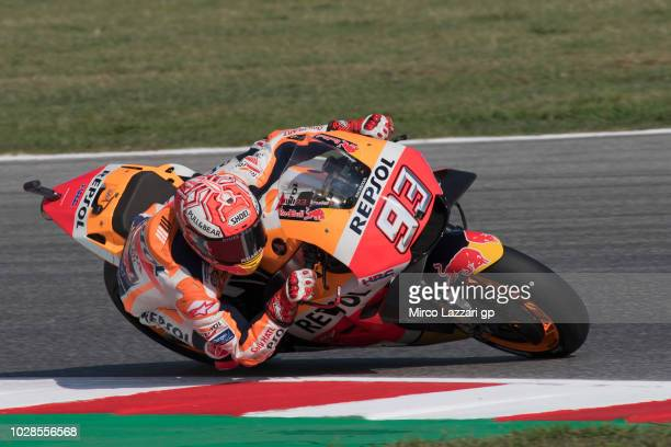 Marc Marquez of Spain and Repsol Honda Team rounds the bend during the MotoGP of San Marino Free Practice at Misano World Circuit on September 7 2018...