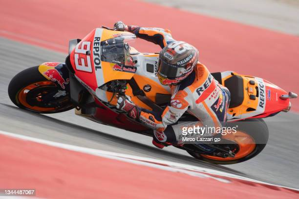 Marc Marquez of Spain and Repsol Honda Team rounds the bend during the MotoGP qualifying practice during the MotoGP Of The Americas - Qualifying on...