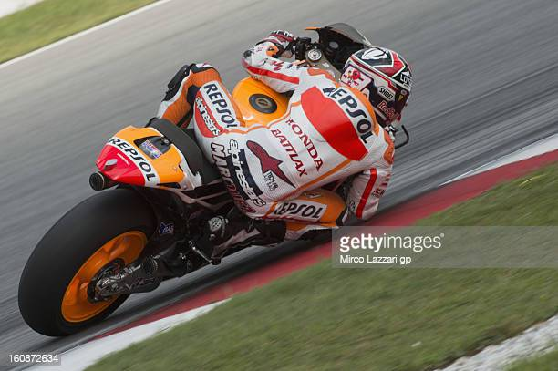 Marc Marquez of Spain and Repsol Honda Team rounds the bend during the MotoGP Tests in Sepang Day Five at Sepang Circuit on February 7 2013 in Kuala...